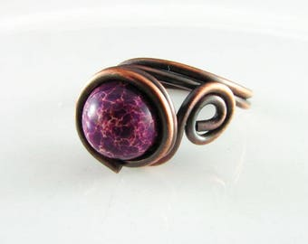 Wire Wrapped Ring Purple Jasper Ring Copper Jewelry Wire Wrapped Jewelry Copper Ring Imperial Jasper Copper Wire Wrap