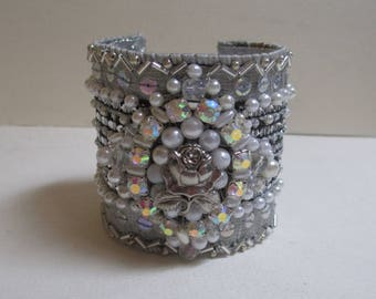 Cuff Bracelet Gray White Silver Beaded Sequined Fabric Fabulous