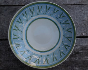 Vintage 1960s to 1970s Retro Serving Bowl Green and Blue/White Large Dinners Get Togethers/Company Flower Like Pattern