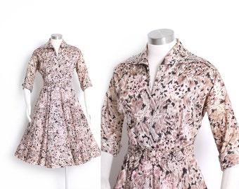 Vintage 50s Dress - Printed Acetate Floral Full Skirt Rhinestone Pink 1950s - Medium M