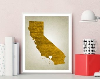 California Wall Art, California Print, State Map Art, State Map Print, State Print, California Poster, California Art Print, California Map