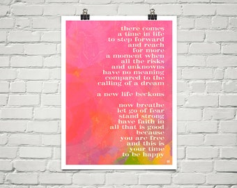 Your Time To Be Happy 18x24 Art Poster Giclee Typography Pink Lisa Weedn