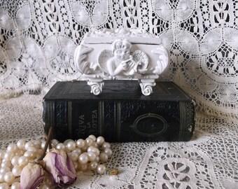 French Country shabby, white  Baroque, Cherub Trinket Box, mini box, ring storage