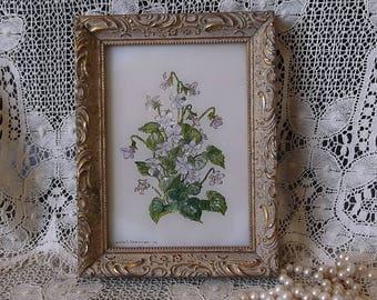 Petite Ornate Violet Art, handpainted by Lucile Brennan
