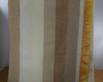 Vintage Hand Loomed Blanket Variety Wool Weave Chenille Dimensional