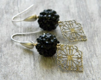 Special occasion jewelry black and silver filigree earrings wedding jewelry bridesmaid jewelry gift for her