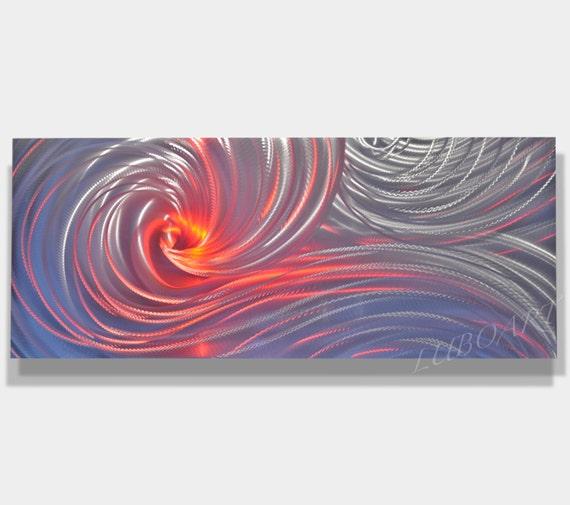 Metal art Sculpture Modern wall decor LED RBG colour Halogen light Video Silver Ocean Dance Original hand made by artist Lubo Naydenov
