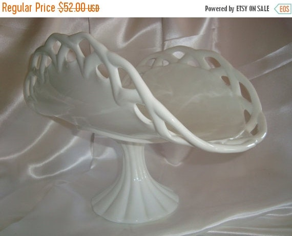 ON SALE Milk Glass Pedestal Dish Serving Dish