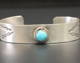 "Vintage Turquoise Cuff Bracelet Stamp Bands 6"" Circumference"