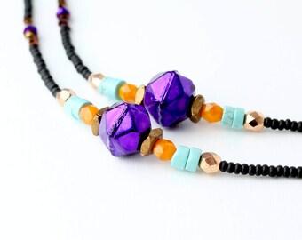 Purple Turquoise Boho Eyeglass Chain, Glasses Chains, Eyeglass Holder Necklace, Designer Eyewear, Sunglasses Chain, Beaded Eyeglass Chain