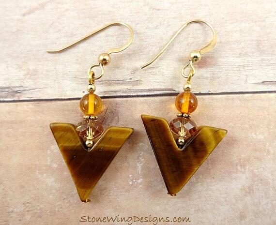Tigers Eye, Amber and Crystal Chevron Earrings