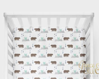 Fitted Crib Sheet - Adventure Woodland Bears, Mountains and Arrows in aqua mint, grey, brown and navy blue