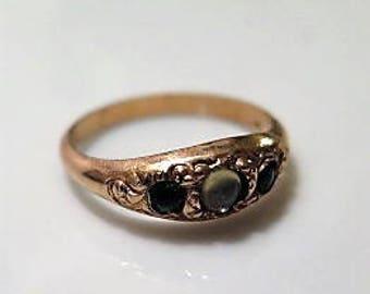 Victorian Gold Fill Ring Moonstone Green Garnet 1880s Sz 8.25