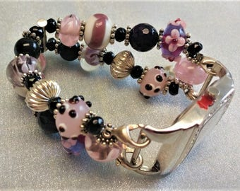 Chunky, Beaded Wristwatch, with Interchangeable Stretch Watchband, Mauves, Black, Pink, White, Colored LampWork Beads,