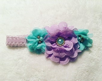 Girls headband lavender and teal