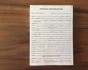 10 Vintage Medical Patient Information Forms, Mid Century Doctor's Office Forms