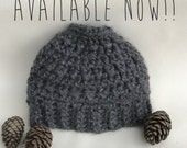 Pony Tail Beanie - Pony Tail Hat - Messy Bun Hat - Bun Beanie - Trendy Bun Hat - Mom Bun Beanie - Gift For Mom - Gift For Girl - Gray