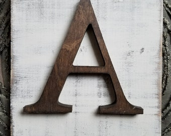 Farmhouse Style A Hanging Wood letter sign- Wall hanging letter READY TO SHIP A