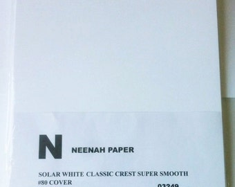 """Neenah Cardstock: Solar White Classic Crest Super Smooth Cover 80 lb ( #80 )    Qty 20 sheets 8.5"""" x 11"""""""