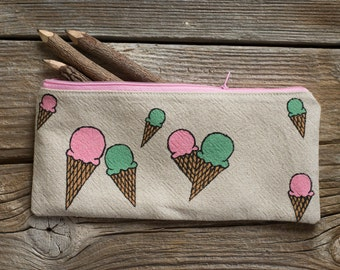 Hand Painted Ice Cream Cones Pencil Case, Natural Linen and Cotton Pen Holder, School Supplies