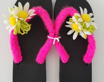 Ladies/Women Black Flop Flops with Shocking Pink Crocheted Straps and Lime Green Pom Poms and Vintage Daisies