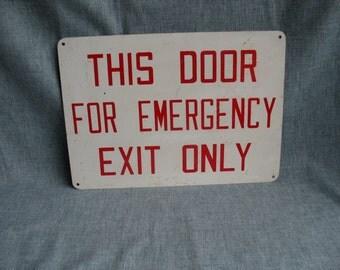 """Vintage Metal Exit Sign Door Emergency Exit Sign 14"""" x 10"""" Industrial Home Shop"""