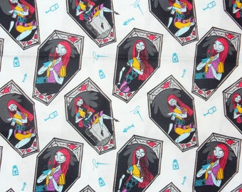 Nightmare before Christmas Fabric, Sally in Coffins, Disney Movie, On White, Tim Burton, Just Sally, By the Yard, Cotton fabric