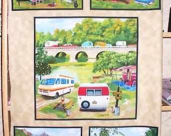 Vintage Campers Panel, Camping Scenes, Vintage Campers, Camper Fabric, 1 Panel, Cotton Fabric