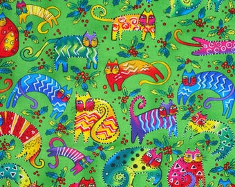 Laurel Burch Cats Fabric, Colorful Cats, Primary Colors, Tossed Cats, By the Yard, Cotton fabric