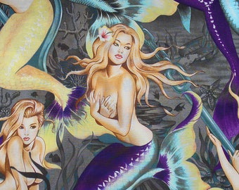 Sea Sirens, Alexander Henry, Mermaids Fabric, Over Sized Mermaids, Charcoal Background, By the Yard