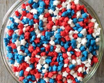 Sprinkles, 3 oz - Mini Patriotic Star Confetti Quins - for Cupcakes - Cake Pops - Cookies - Ice Cream - Dipped Pretzels - Cakes - Desserts