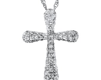 "1/2ct Micro Pave Genuine Diamond Pendant 18K White Gold 3/4"" Tall (F, VVS)"
