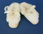 1950s Baby Girl Slippers Pink Kid Leather Angora Rabbit Fur Trim Size 2 Mrs Days Ideal Shoes  505b