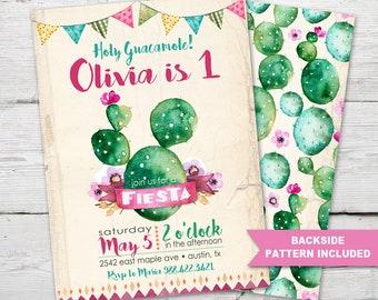 Fiesta Birthday Invitation, Fiesta Invitation, Fiesta Party, Cactus Birthday Invitation, Cinco De Mayo Birthday Invitation, PRINTABLE