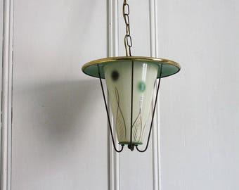 Green Polka dots 1950s Pendant Light. Midcentury Modern Hallway bedroom Lantern.