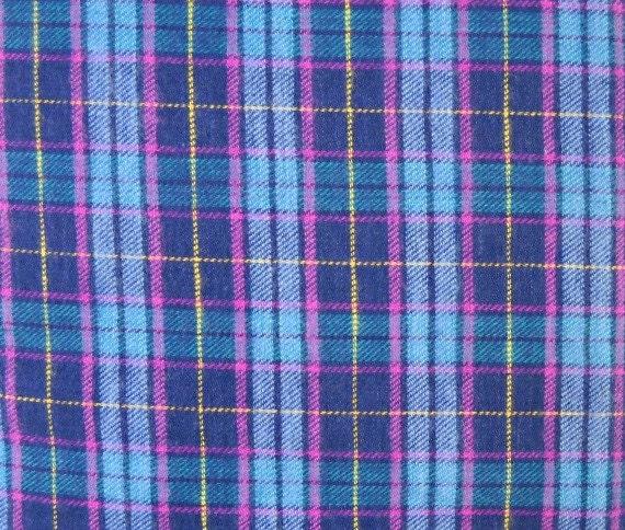 Blue Flannel Plaid Fabric 100 Percent Cotton 1 Yard Cut
