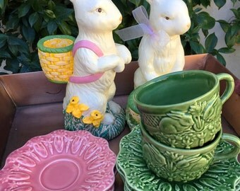 Rabbit designed plates, Easter plate, Easter plates, Spring decor, Tea party supplies, spring tea party supplies:
