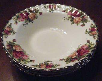 "Royal Albert Old Country Roses 8"" Rimmed Soup/Salad Bowls"