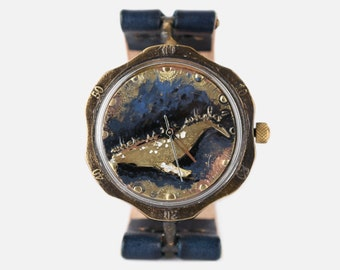 Vintage Steampunk Handmade Wrist Watch with Handstitch Leather Band /// whaleBee - Perfect Gift for Birthday, Anniversary