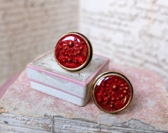 Handmade silver cufflinks, red & gold carved clay floral motif, embellished w/ resin. Gold unisex cufflink inspired by French jewelry design