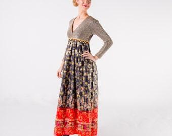 1970's Saks Fifth Ave Lurex Boho Maxi Dress/ Floral Empire Waist Bohemian Holiday Dress/ Metallic Skirt