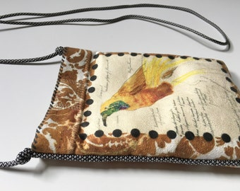 Sueded Tapestry Bag || Exotic Bird of Paradise, Phone, Cross Body, Sparkle, Sketch, Modern, Cool, Hip, Fun, Evening, Suede, iphone