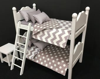 Doll Furniture American Girl: bunk bed  gray and white chevron for 18 in American Girl or Boy Doll