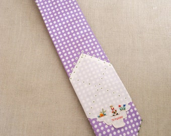 Mens Neck Ties, Necktie, Polka Dots, Lavender, Silk , Hand Embroidered, Handmade, Wil Shepherd, Vintage, Ties, Neck Wear, Up Cycled, Preppy