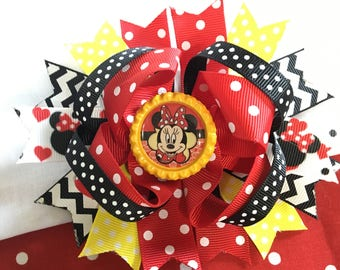 """Minnie Mouse yellow black red polka dots Hair Bow Grossgrain Loopy Boutique Handmade 5"""" 18m  24M 2T 3 t 4 t 5 6 7 8"""