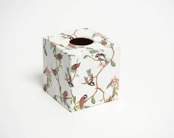 Tissue Box Cover Bird Song wooden handmade in UK