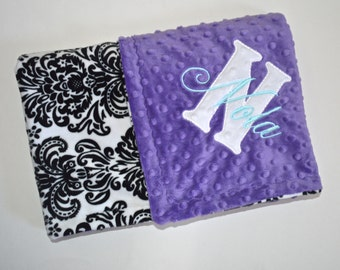 SALE Minky Baby Blanket - Monogrammed Purple with Black and White Damask - Personalized Girl Gift, Blanket with Name Newborn