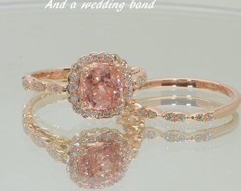 A setting, Semi mounted gold ring, here in rose gold engagement ring, diamonds engagement ring SKU-Alex,  ring setting only