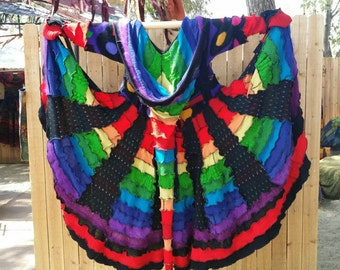 Order# E2006 for Michelle Arnold - Rainbow Bright and Black! Spiral Patchwork Gipsy Coat