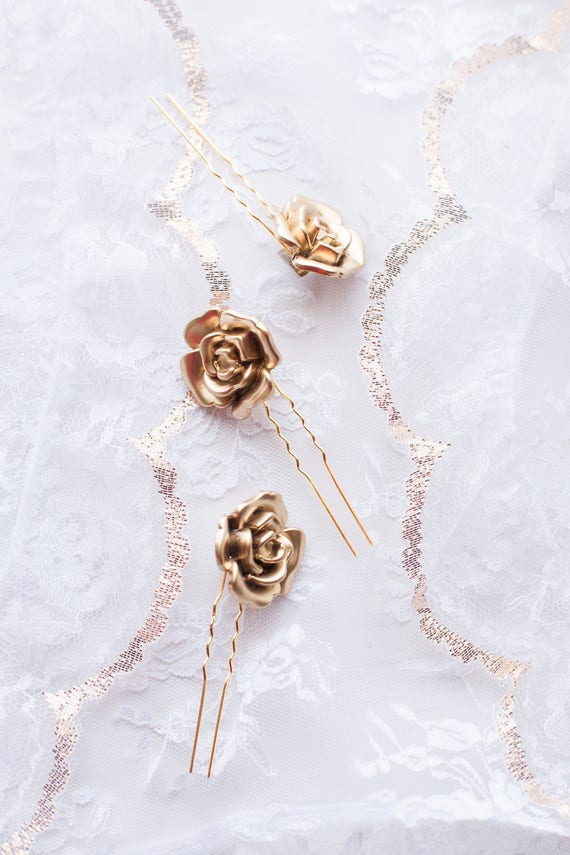 Gold Rose Hair Pins, Gold Floral Bobby Pins, Gold Flower Clips, Bridal Hair Pin, Gold Wedding Accessory, Rose Hairpin (Set of Three) ROSABEL